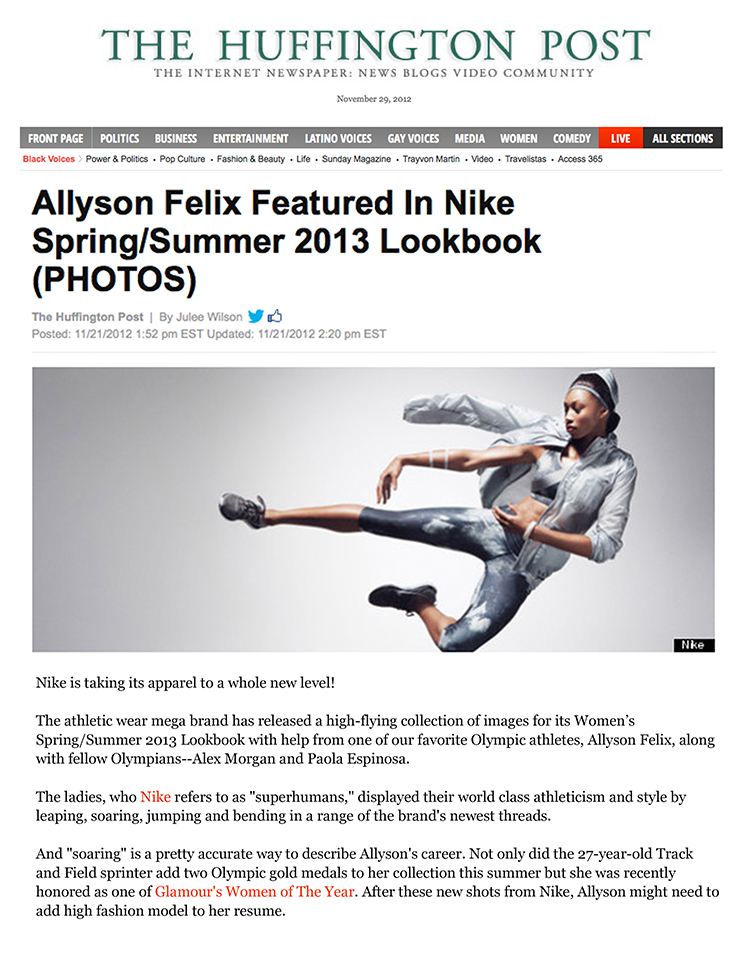 ceft-and-company-ny-agency-nike-spsu13-lookbook-press-huffington-post-kira-dikhtyar-alex-morgan-paola-espinosa-allyson-felix-santiago-mauricio-sierra