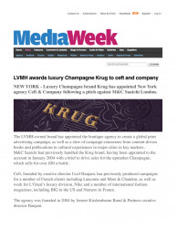 press: LVMH awards luxury champagne krug to ceft and company featured on media week