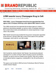 press: LVMH awards elite champagne krug to ceft and company featured on brand republic