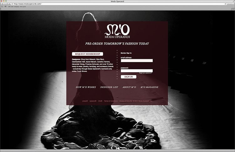 378e652b42 identity application to the original digital e-com site. moda operandi  started as a members-only online luxury destination dreamed up by CEO and  ...