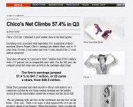 press: as featured in WWD, chico's fas inc, parent company of white house black market, net climbs 57.4% in Q3